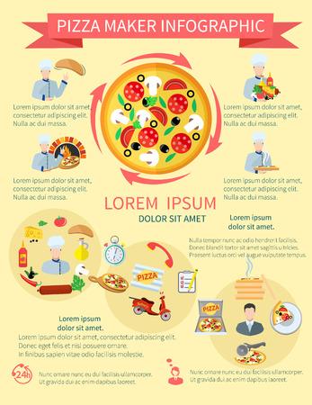Fast pizzero comida pizzería servicio perfecto ingredientes frescos infografía establecer ilustración vectorial