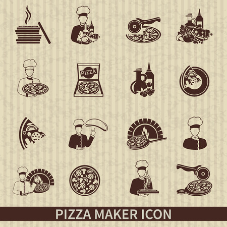 Icono pizzero conjunto negro con ingredientes italianos perfectos rebanada caliente ilustración vectorial