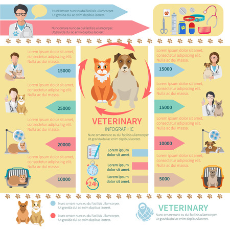 veterinary: Veterinary infographics flat set with pet health care design elements vector illustration