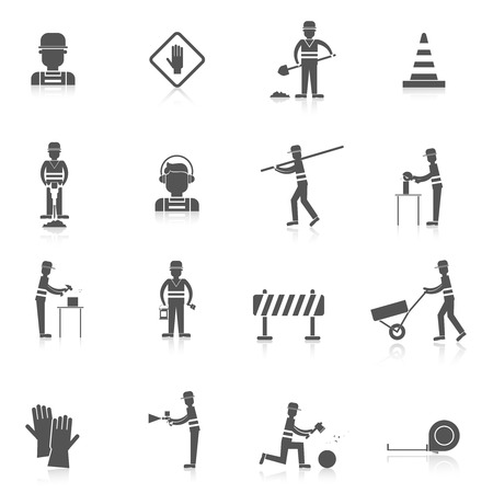 vector sign under construction: Road worker black icons set with warning under construction sign isolated vector illustration
