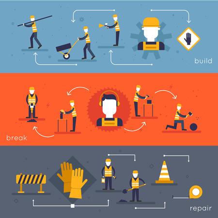 herramientas de construccion: Bandera plana Trabajador del camino establecido con aislados acumulaci�n romper la reparaci�n ilustraci�n vectorial Vectores