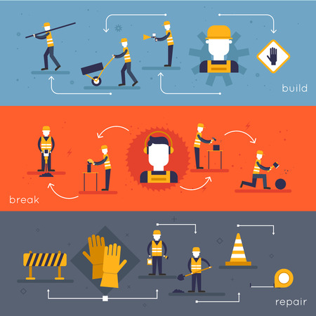 industrial construction: Road worker flat banner set with break repair build isolated vector illustration Illustration
