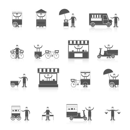 chinese takeout box: Street fast takeout food ice cream stall icon black set isolated vector illustration