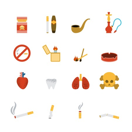 cigar smoke: Smoking icon flat set with lighter tobacco pipe cigarette isolated vector illustration
