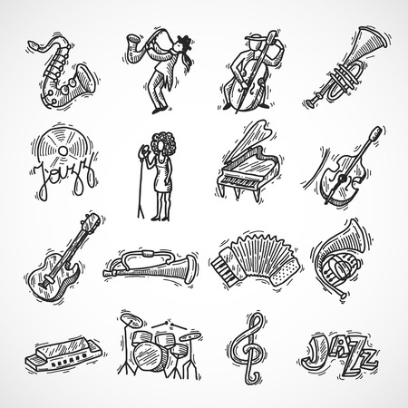 double bass: Jazz music club party icons sketch set with saxophone trumpet singer and double bass isolated vector illustration Illustration