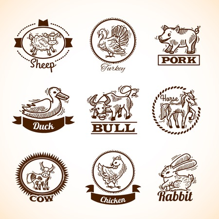 cock duck: Farm hand drawn labels set with sheep turkey duck bull horse isolated vector illustration