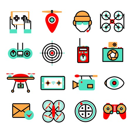 unmanned: Drones and quadrocopters unmanned innovation flying vehicles icon set isolated vector illustration Illustration