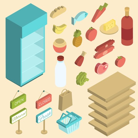 Supermarket icon isometric set with fresh grocery and empty shelves isolated vector illustration Illustration