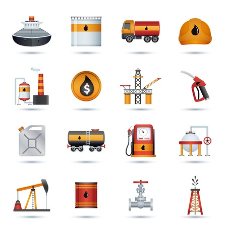 Oil industry petroleum fuel processing transportation and extraction icons set isolated vector illustration