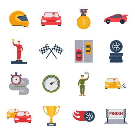 bandera carreras: Deporte Auto grand prix icono plana fija con casco aislado trofeo b�lido ilustraci�n vectorial