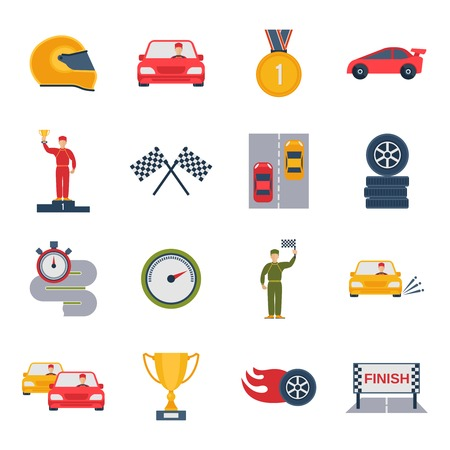 Auto sport grand prix icon flat set with bolide trophy helmet isolated vector illustration Illustration