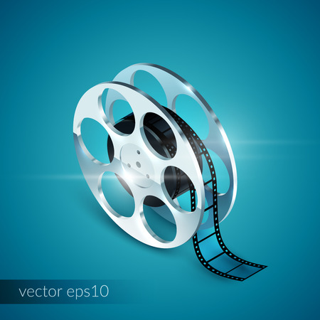 movie screen: Film reel realistic 3d isolated icon on blue background vector illustration Illustration