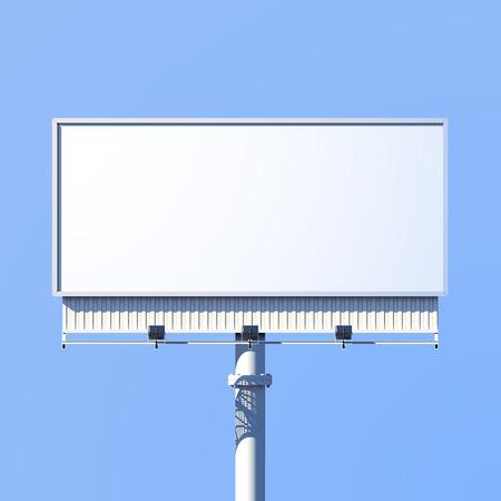 Realistische 3D outdoor reclame billboard teken geïsoleerd op een blauwe achtergrond vector illustratie