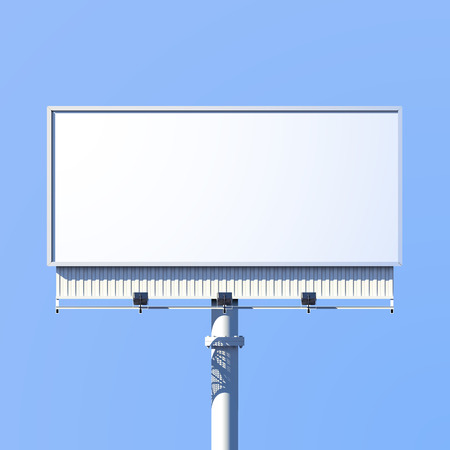 Realistic 3d outdoor advertising billboard sign isolated on blue background vector illustration