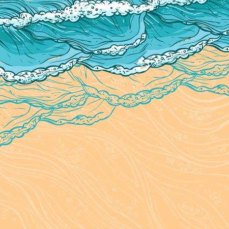 Waves flowing water sketch sea ocean and sandy beach seashore colored background vector illustration Stock Illustratie