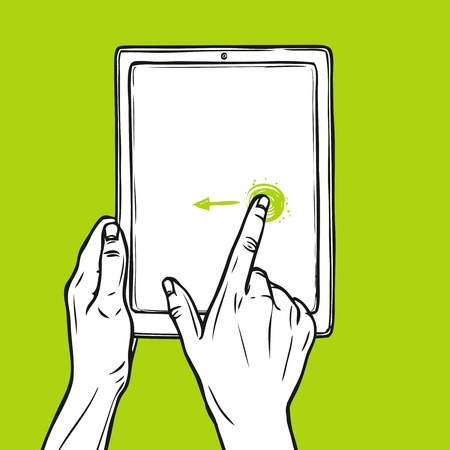 swipe: Hand holding tablet gadget and swipe gesture sketch on green background vector illustration