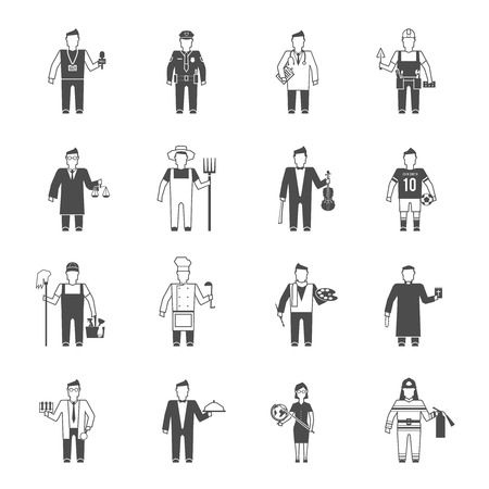 Professionals cartoon characters black icons set of reporter bishop teacher worker lawyer musician abstract isolated vector illustration Vector