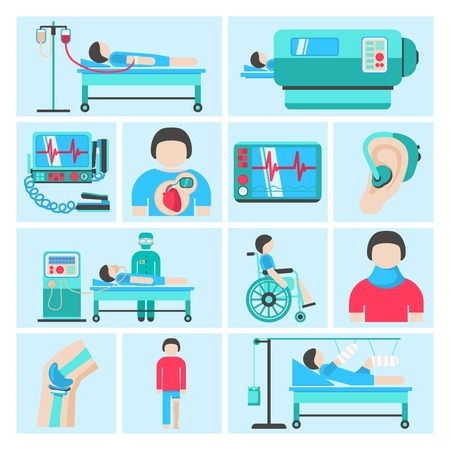 bandages: Healthcare medical patient respiratory monitoring apparatus life support infuse system flat icons set abstract isolated vector illustration