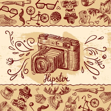 hair tie: Hipster fashion sketch background with vintage photo camera vector illustration Illustration