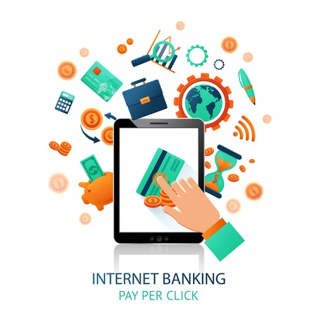 Internet banking application with hand touching tablet and online payment icons vector illustration Stock Illustratie