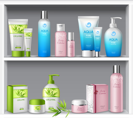 champ�: Femenino paquetes de productos cosm�ticos y tratamientos de belleza de higiene en la ilustraci�n vectorial estantes