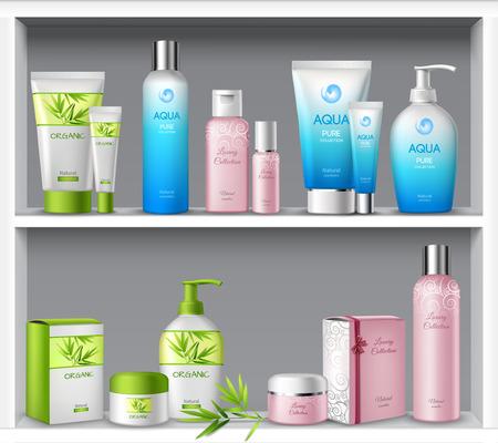 Femme emballages cosmétiques et soins de beauté de l'hygiène produits sur les tablettes illustration vectorielle Vecteurs