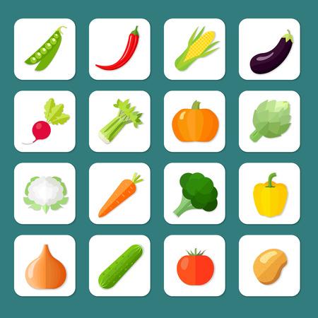 Groenten icoon platte set met geïsoleerde erwten chili peper koren aubergine vector illustratie