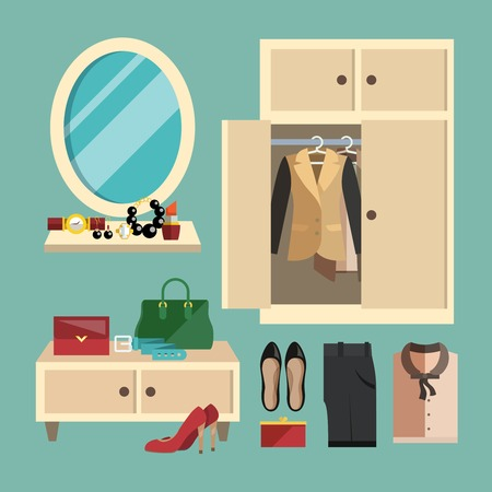 table skirt: Business woman clothes shoes and accessories decorative icons set in flat foyer vector illustration Illustration