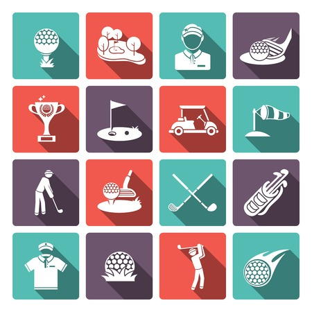 computer clubs: Golf club flat white icons set set with sport game inventory tournament isolated vector illustration