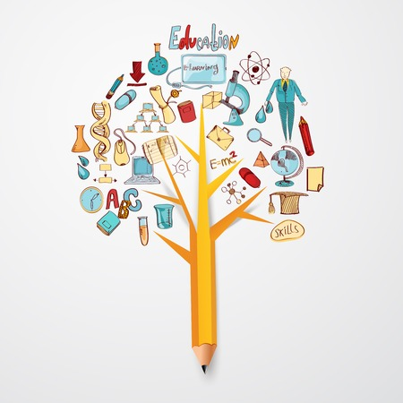 Education doodle concept with research science school icons on pencil tree vector illustration Vectores
