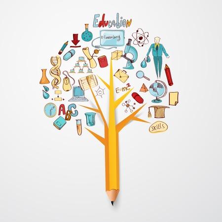 Concepto de la educación del doodle con iconos de la escuela de investigación en ciencias en el árbol de lápiz ilustración vectorial Vectores