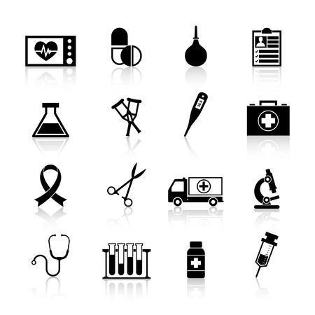 medical instruments: Medical equipment icon black set with heart rate pill enema isolated vector illustration Hình minh hoạ