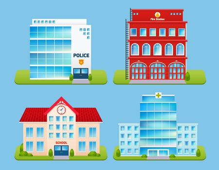 police station: Government buildings emblems set with police office fire station school hospital isolated vector illustration