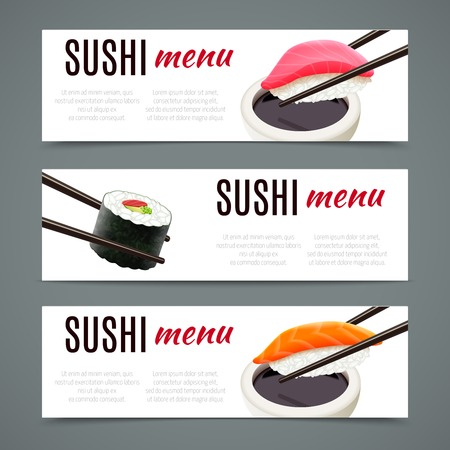 sushi: Sushi menu banners horizontal with salmon roll and chopsticks isolated vector illustration