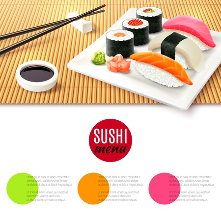 Sushi roll realistic and bamboo mat with chopsticks and soy sauce japanese menu background vector illustration