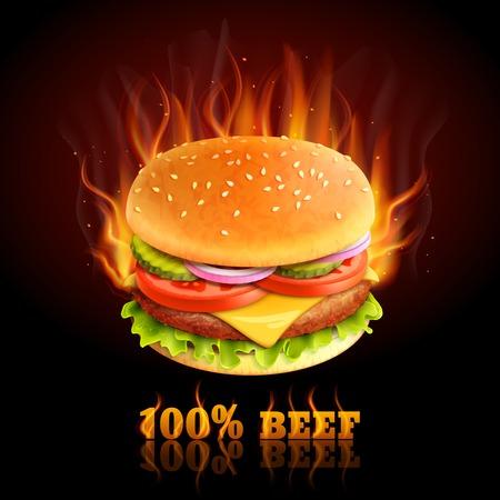 Realistische Rindfleisch Hamburger in Brand Hot Fast-Food-Hintergrund Vektor-Illustration Standard-Bild - 35030830