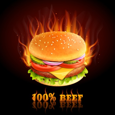Realistic beef hamburger in fire hot fast food background vector illustration