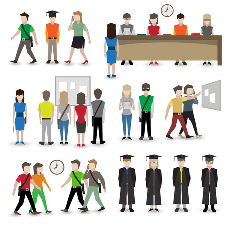 set going: University school and college education students people avatars set vector illustration