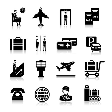 airport security: Airport icons black set with baggage check security control flying airplane isolated vector illustration