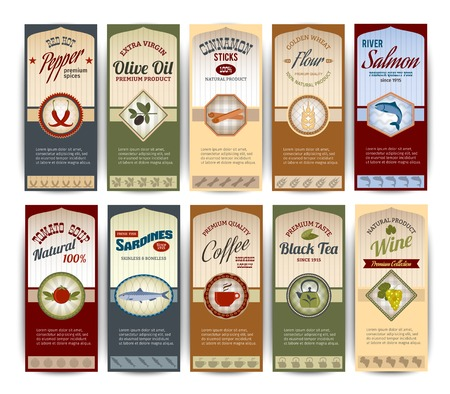 promote: Food retro banners set with pepper olive oil sardines flour salmon isolated vector illustration