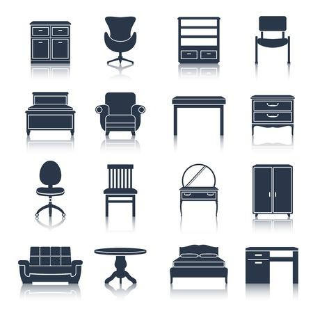 家具アイコン黒ベッド サイドボード椅子オフィス テーブル分離ベクトル イラスト セット