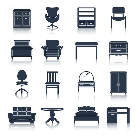 home furniture: Furniture icons black set with bed sideboard chair office table isolated vector illustration