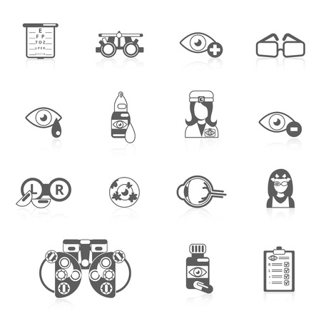 Oculist optometry vision correction eyes health black icons set isolated vector illustration Illustration