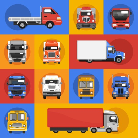 hauler: Truck heavy carrier transport delivery van decorative icons flat isolated vector illustration Illustration