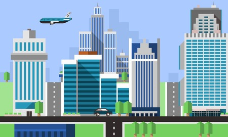 Skyscraper offices flat background with business real estate property apartments vector illustration