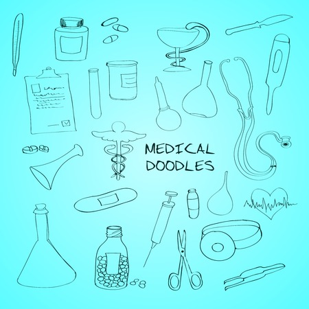 first aid kit: First aid bandage kit medical drugs pills syringe outline pictograms collection abstract outline doodle sketch vector illustration