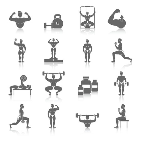 Bodybuilding muscle exercise fitness gym black icons set isolated vector illustration