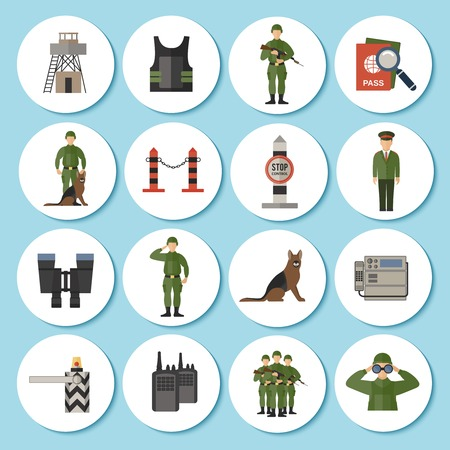 Border Guard icon sticker flat set with soldiers in military uniform camouflage isolated vector illustration Vector