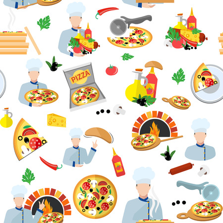 pizza maker: Pizza maker seamless pattern with fresh food box and chef cook vector illustration