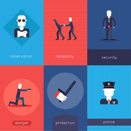 reliability: Security guard mini poster set with observation reliability security danger protection police isolated vector illustration Illustration
